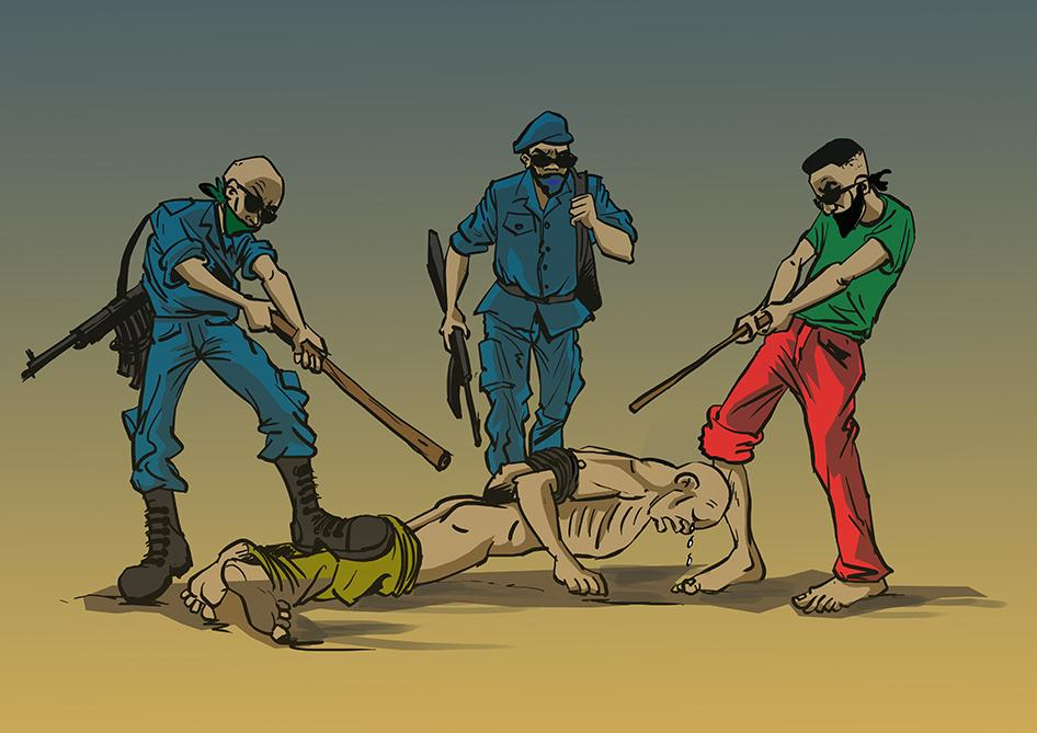 Artists illustration of Burundi torture by officials