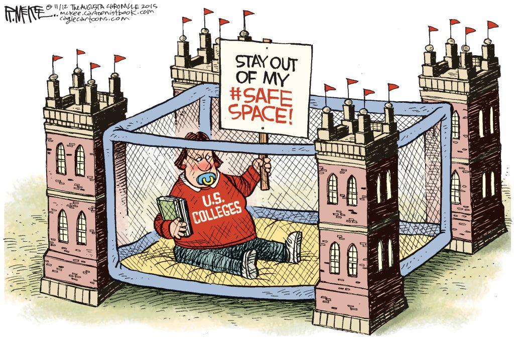 Cartoon ridiculing safe spaces at Universities